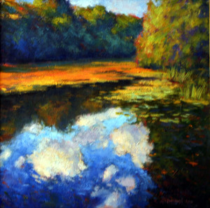 Clouds In The Pond   20 x 20   sold